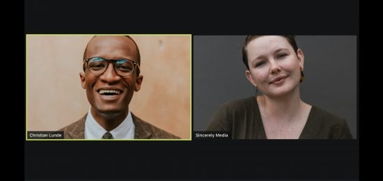 zoom call with older Black man with suit and younger white women